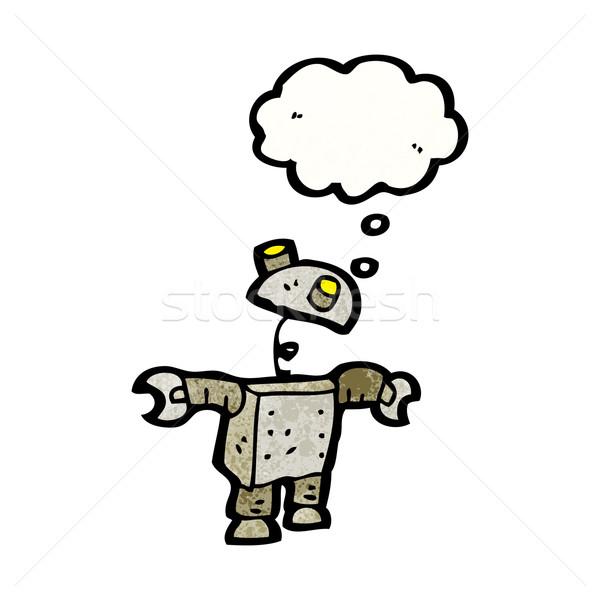 Foto stock: Cartoon · robot · burbuja · de · pensamiento · hablar · retro · pensando