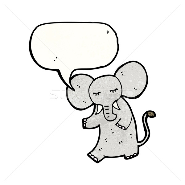 Cartoon słoń dymka retro rysunek cute Zdjęcia stock © lineartestpilot