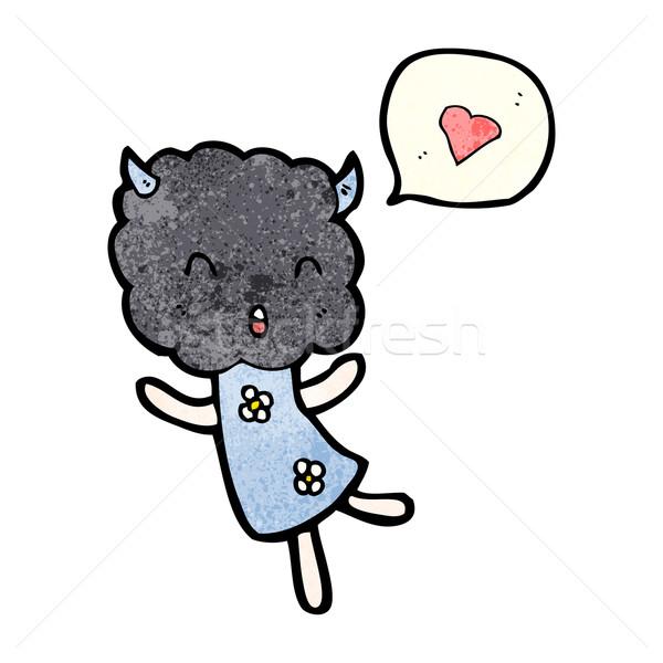 cute cloud head creature with love heart Stock photo © lineartestpilot