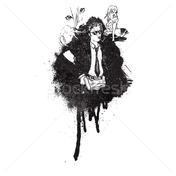 Karikatur Comic Graffiti malen schwarz Retro Stock foto © lineartestpilot