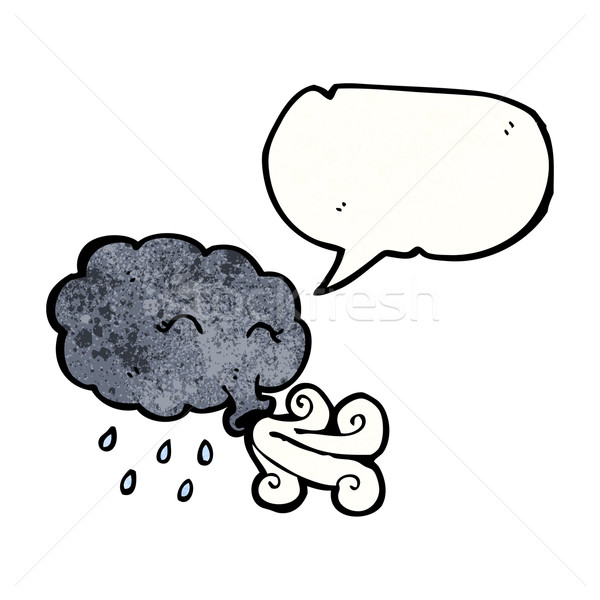 rain cloud blowing gale with speech bubble Stock photo © lineartestpilot