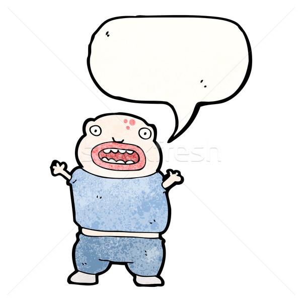 Cartoon мутант мальчика ретро текстуры изолированный Сток-фото © lineartestpilot