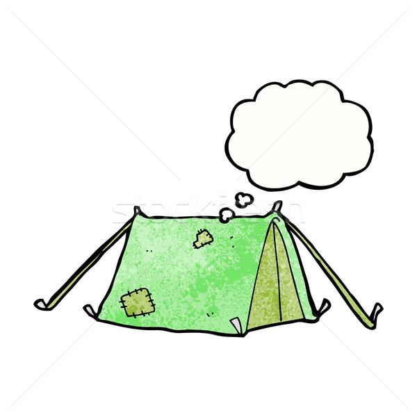 Cartoon tradizionale tenda bolla di pensiero mano design Foto d'archivio © lineartestpilot