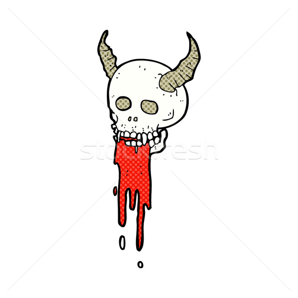 comic cartoon spooky halloween skull Stock photo © lineartestpilot