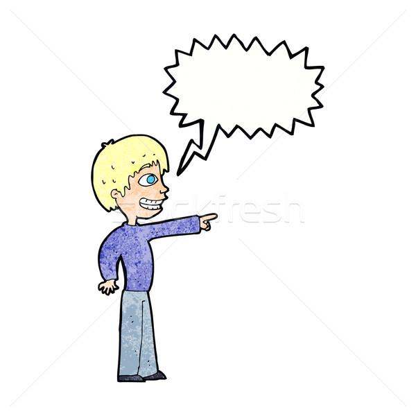 Rajz vigyorog fiú mutat szövegbuborék kéz Stock fotó © lineartestpilot