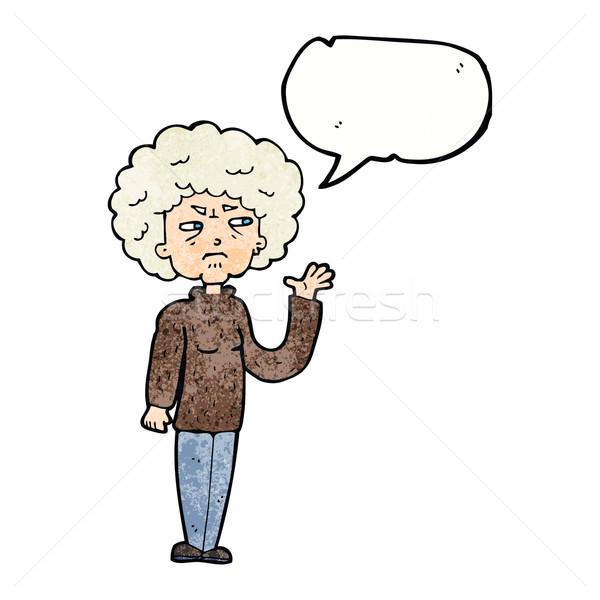 Karikatür rahatsız Yaşlı kadın konuşma balonu kadın Stok fotoğraf © lineartestpilot