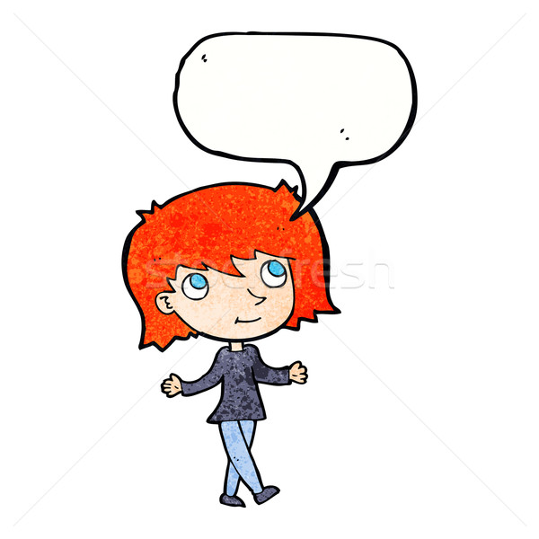 cartoon girl with no worries with speech bubble Stock photo © lineartestpilot