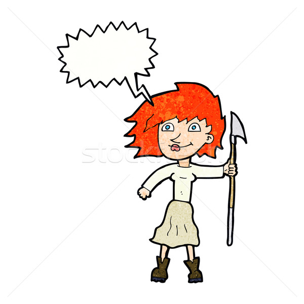 cartoon woman with spear with speech bubble Stock photo © lineartestpilot