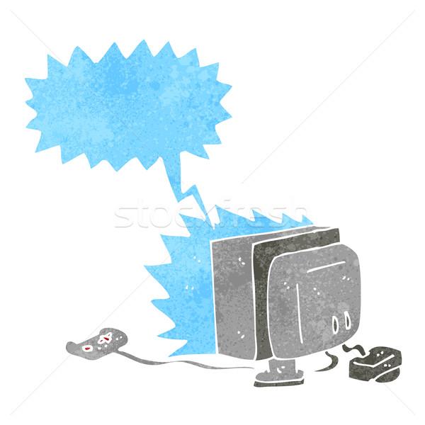 Cartoon компьютерная игра речи пузырь компьютер стороны дизайна Сток-фото © lineartestpilot