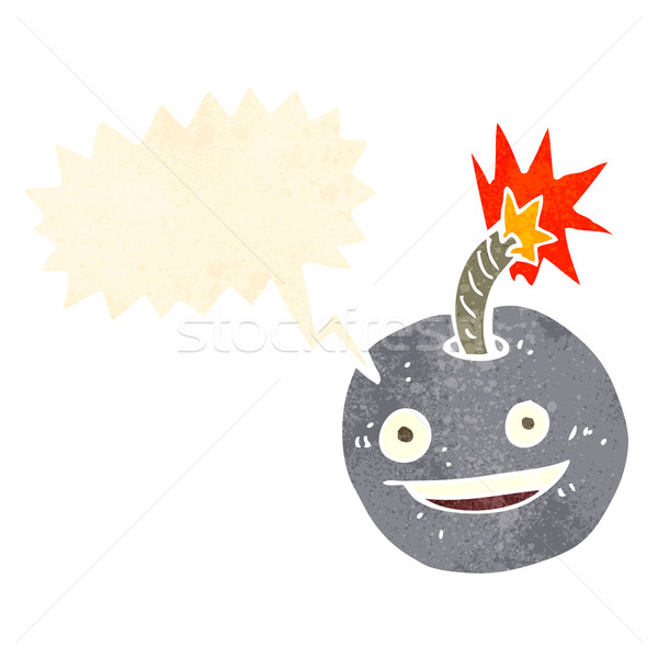 cartoon burning bomb with speech bubble Stock photo © lineartestpilot