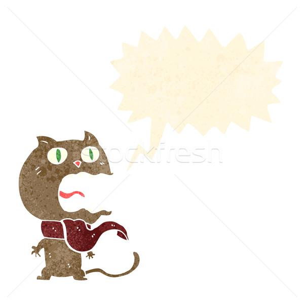 Cartoon bange kat tekstballon hand ontwerp Stockfoto © lineartestpilot