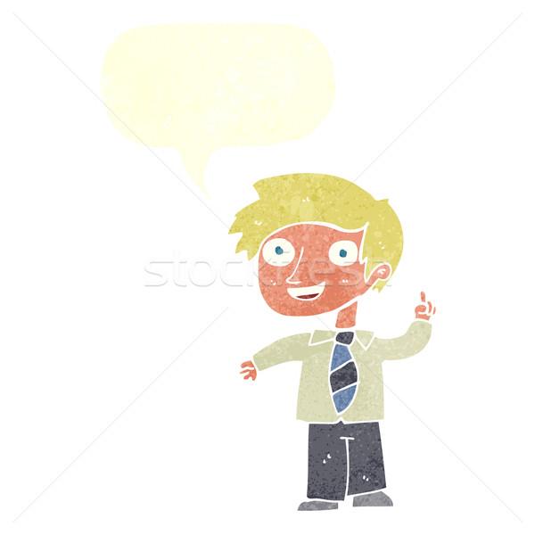 Rajz iskolás fiú ötlet szövegbuborék kéz iskola Stock fotó © lineartestpilot