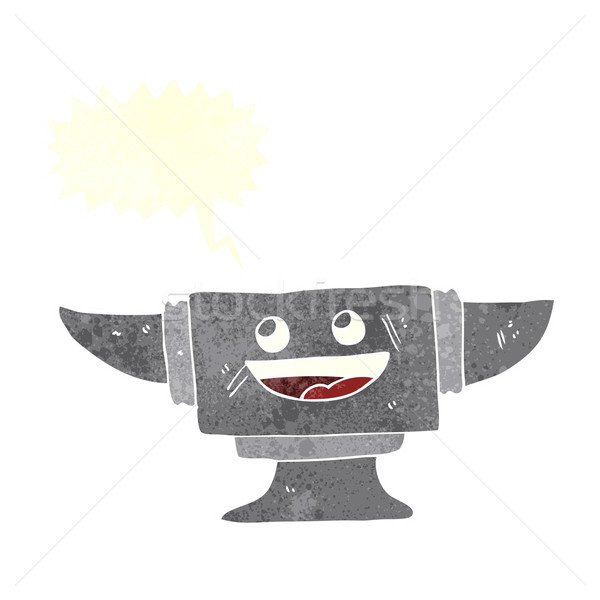 cartoon blacksmith anvil with speech bubble Stock photo © lineartestpilot