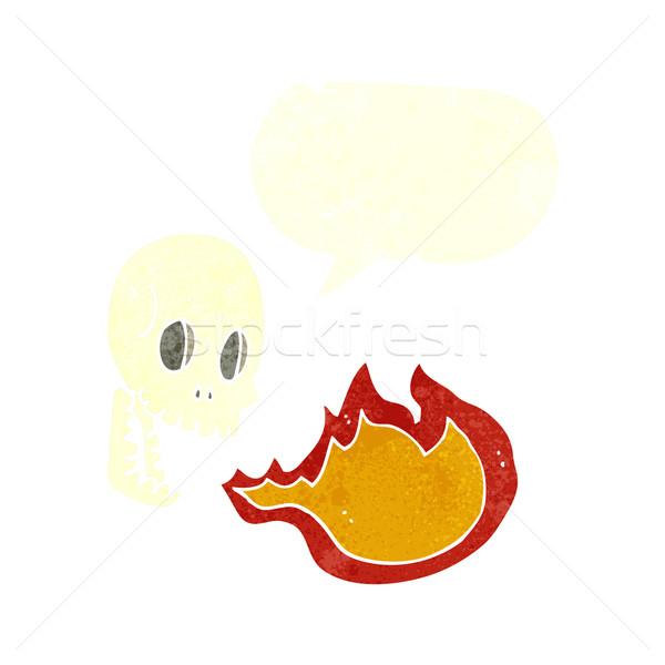 Cartoon огня дыхание череп речи пузырь стороны Сток-фото © lineartestpilot