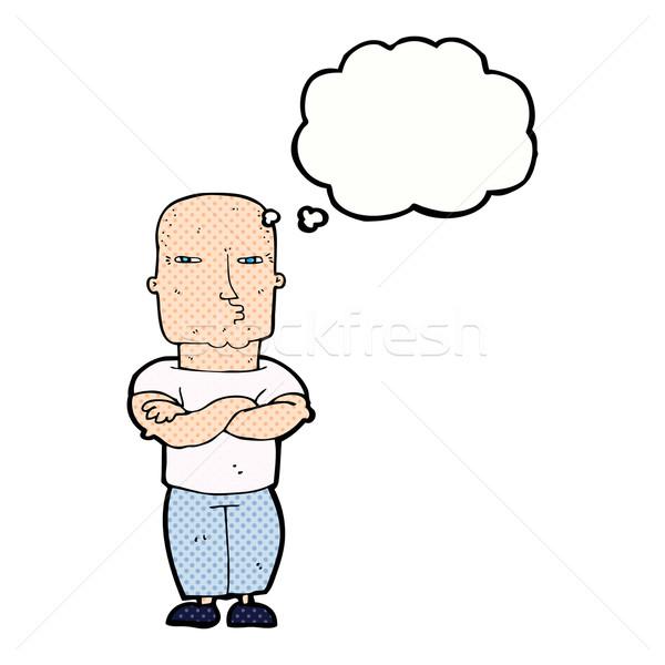 Karikatür sert adam düşünce balonu el adam Stok fotoğraf © lineartestpilot