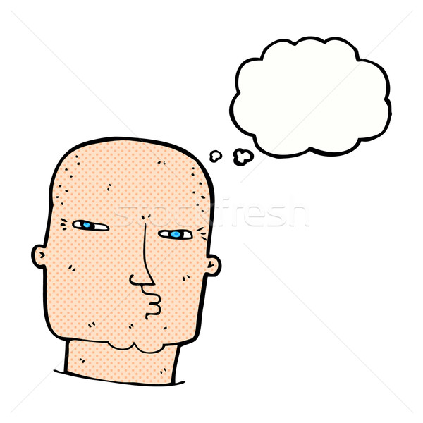 Stock photo: cartoon bald tough guy with thought bubble