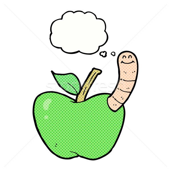 Karikatür elma solucan düşünce balonu el dizayn Stok fotoğraf © lineartestpilot