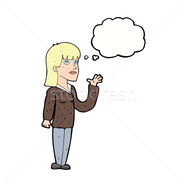 cartoon woman explaining with thought bubble Stock photo © lineartestpilot