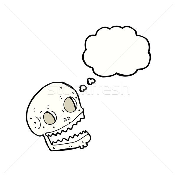 Cartoon schedel gedachte bel hand ontwerp Stockfoto © lineartestpilot
