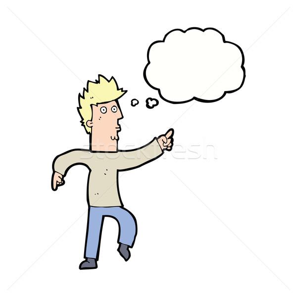 Cartoon bezorgd man wijzend gedachte bel hand Stockfoto © lineartestpilot