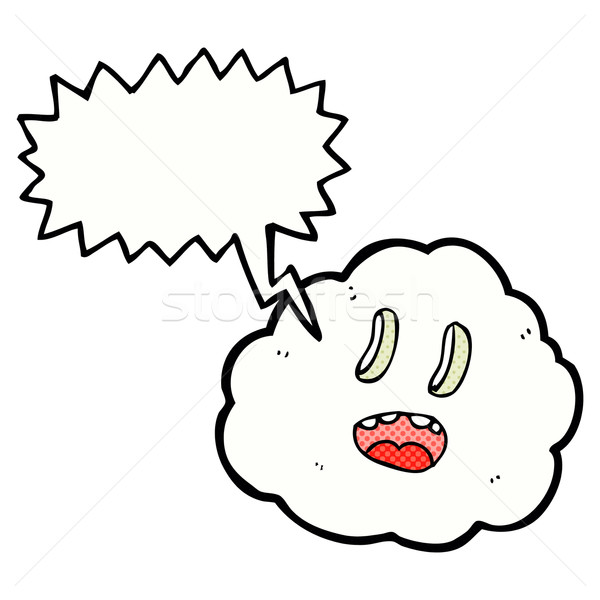 cartoon spooky cloud with speech bubble Stock photo © lineartestpilot
