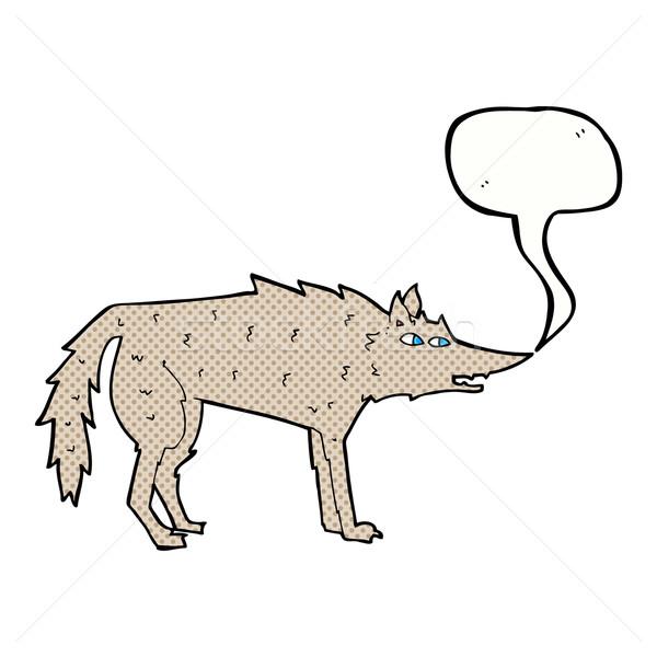 Desen animat lup bule de vorbire mână proiect nebun Imagine de stoc © lineartestpilot