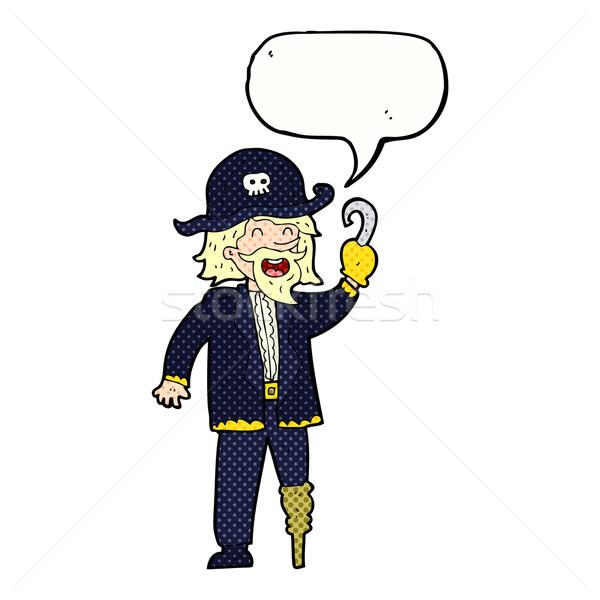 cartoon pirate captain with speech bubble Stock photo © lineartestpilot