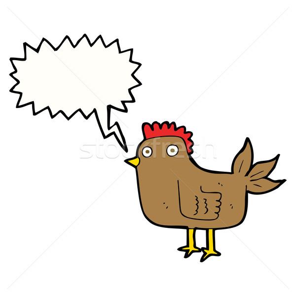 Desenho animado galinha balão de fala mão projeto arte Foto stock © lineartestpilot