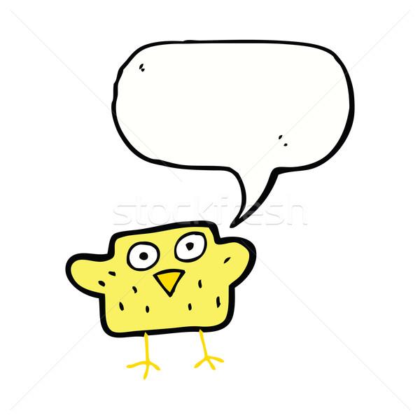 Cartoon vogel tekstballon hand ontwerp gek Stockfoto © lineartestpilot