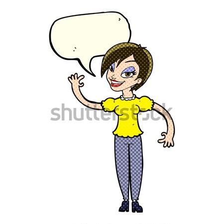 comic cartoon woman giving up Stock photo © lineartestpilot