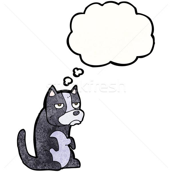 Grincheux peu chien bulle de pensée texture main Photo stock © lineartestpilot