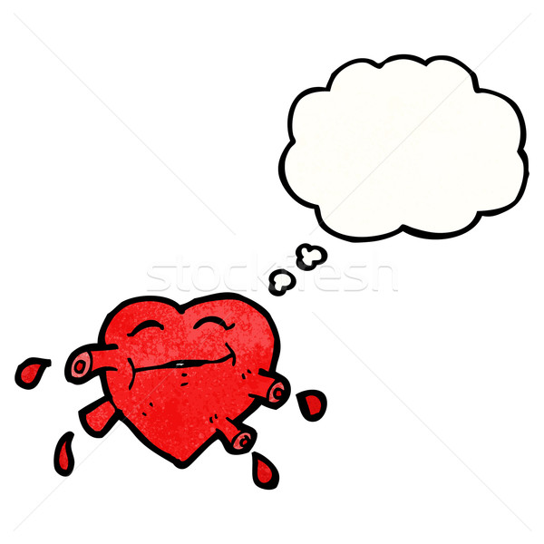 cartoon pumping heart with thought bubble Stock photo © lineartestpilot