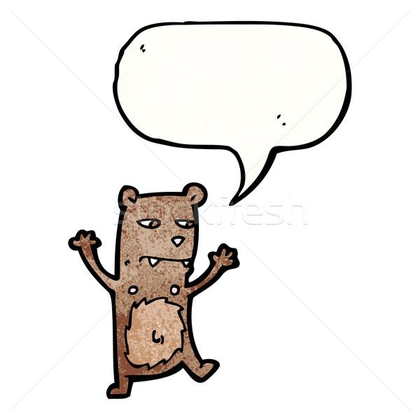 Stok fotoğraf: Küçük · ayı · konuşma · balonu · karikatür · konuşma · Retro