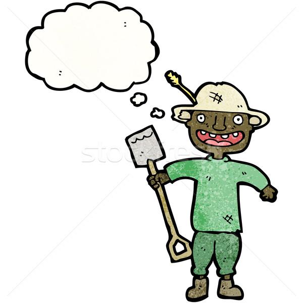 Cartoon agricoltore vanga uomo retro disegno Foto d'archivio © lineartestpilot