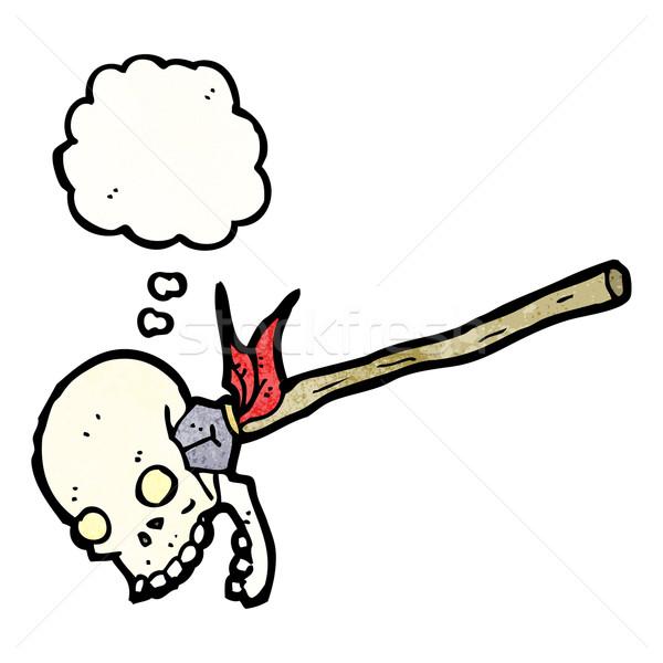 Cartoon lance crâne rétro dessin idée Photo stock © lineartestpilot