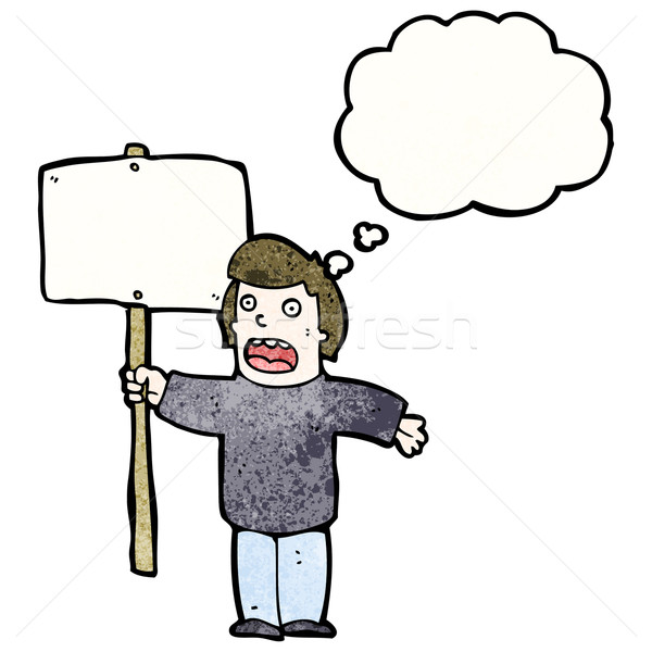 cartoon political protester with sign Stock photo © lineartestpilot