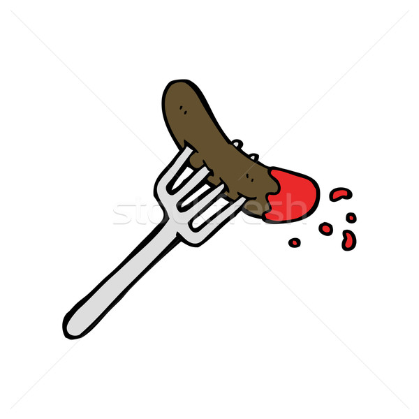 Cartoon хот-дог кетчуп продовольствие дизайна искусства Сток-фото © lineartestpilot