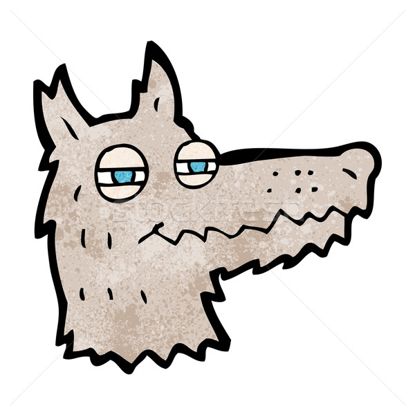 cartoon smug wolf face Stock photo © lineartestpilot