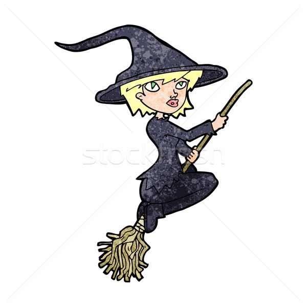 Desenho animado bruxa equitação cabo de vassoura mão projeto Foto stock © lineartestpilot