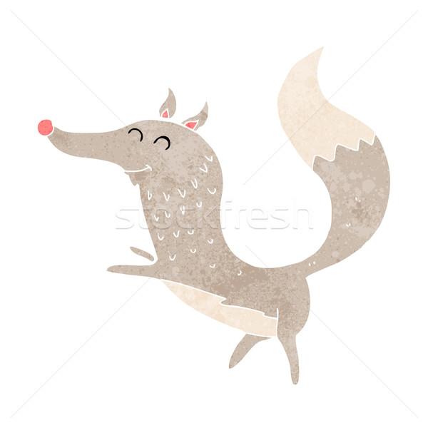 Cartoon gelukkig wolf hand ontwerp kunst Stockfoto © lineartestpilot