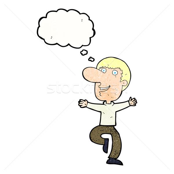 Cartoon счастливым человека мысли пузырь стороны дизайна Сток-фото © lineartestpilot