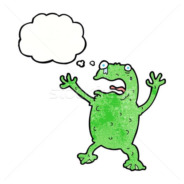 Cartoon испуганный лягушка мысли пузырь стороны дизайна Сток-фото © lineartestpilot