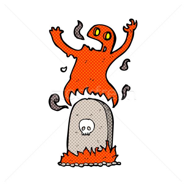 Cômico desenho animado fantasma grave retro Foto stock © lineartestpilot
