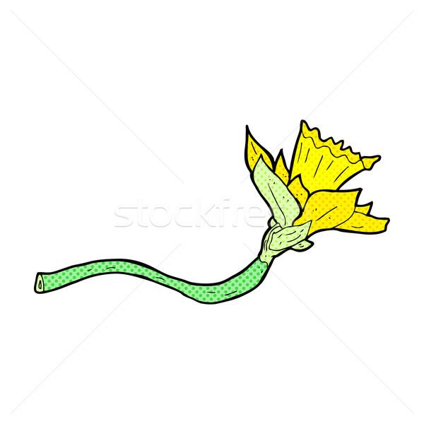 Cômico desenho animado abrótea flor retro Foto stock © lineartestpilot