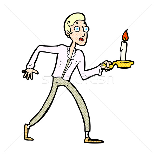 comic cartoon frightened man walking with candlestick Stock photo © lineartestpilot