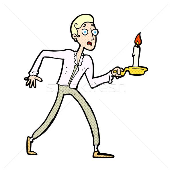 Komiks cartoon przestraszony człowiek spaceru świecznik Zdjęcia stock © lineartestpilot