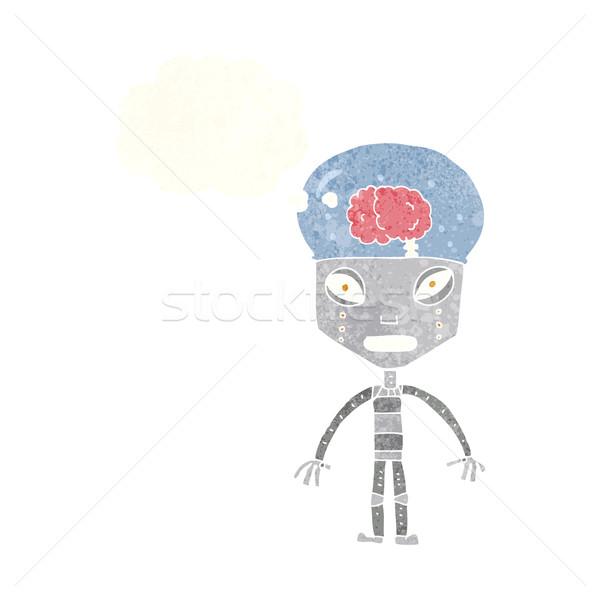 Weird robot gedachte bel hand ontwerp gek Stockfoto © lineartestpilot