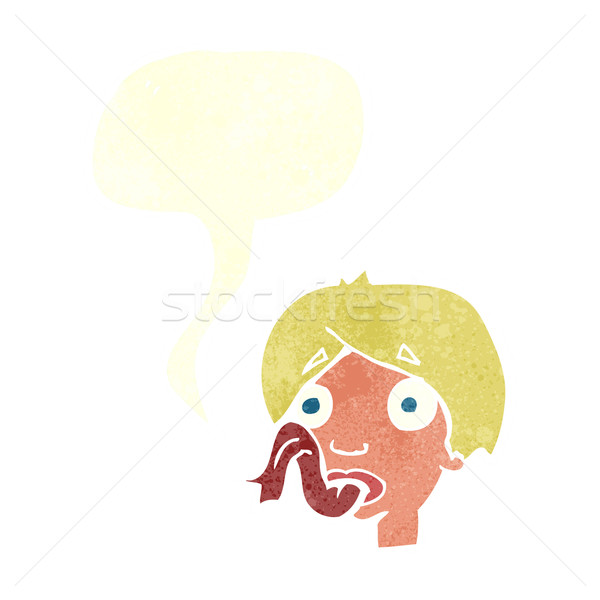 cartoon head sticking out tongue with speech bubble Stock photo © lineartestpilot