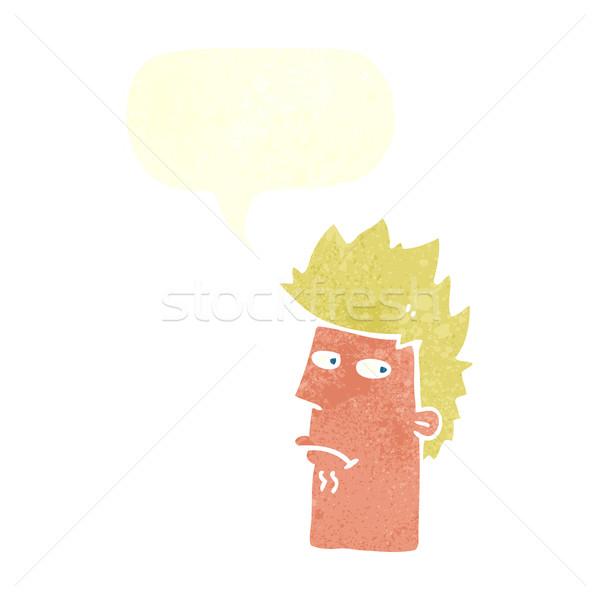 Desenho animado nervoso balão de fala mão projeto cabeça Foto stock © lineartestpilot