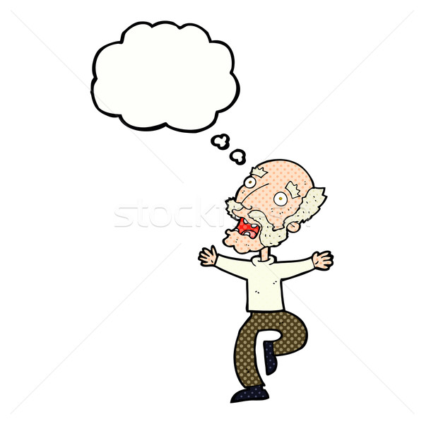 Cartoon старик испуг мысли пузырь стороны человека Сток-фото © lineartestpilot
